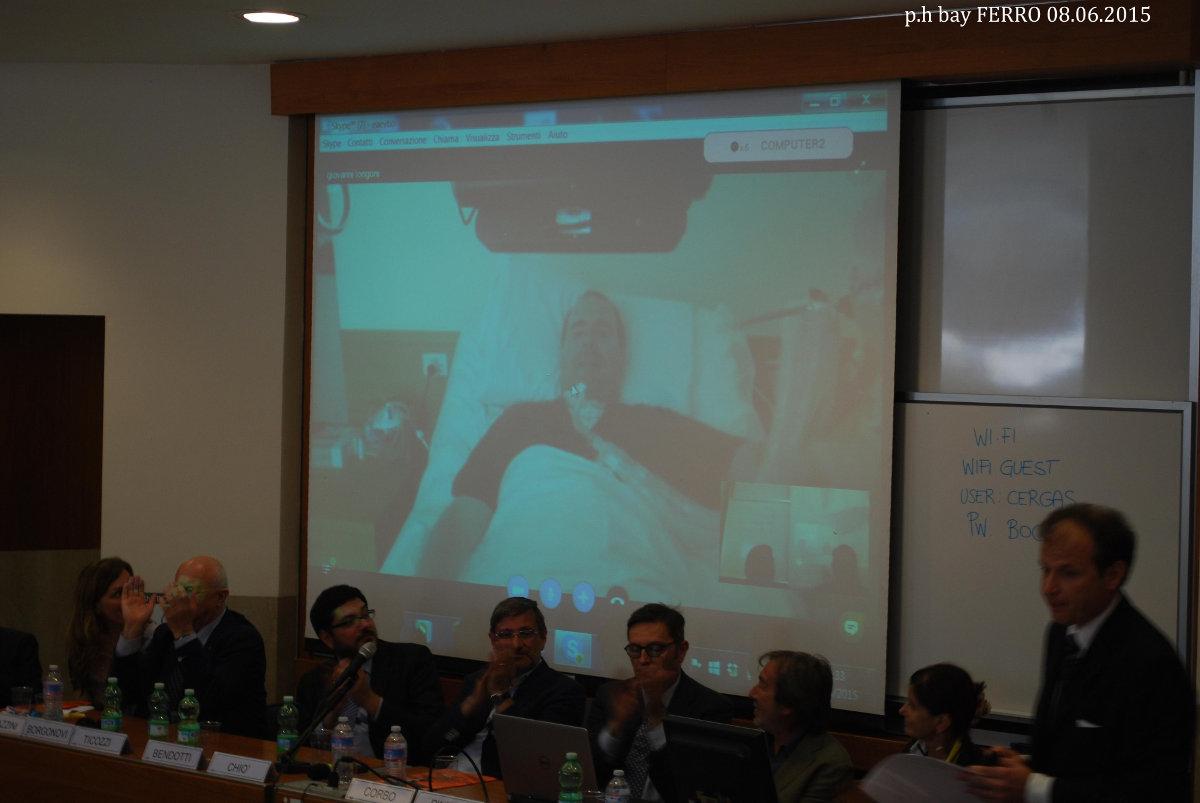 """Giovanni Longoni collegato in video conferenza durante l'edizione 2015 del premio """"PriSLA"""" - Università Bocconi, 8 giugno 2015"""